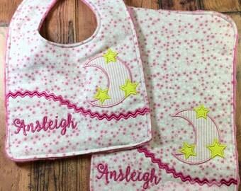 Personalized Bib and Burp Cloth Set, - Girls Monogrammed Baby Bib & Burp, - Moon and Stars Bib and Burp Cloth Set, - Baby Shower Gift Set