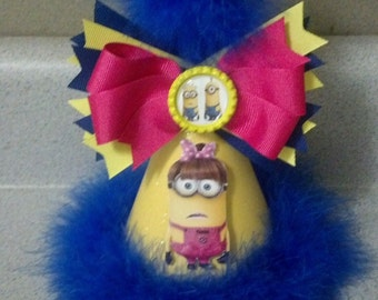 minion girl  birthday party hat with removable bottlecap hairbow elmo party supplies