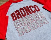 """Cheer Mom Shirt - Short Sleeve Raglan Jersey Style -Your Team-Squad & """"CHEER MOM""""  Choice of Red, black or Blue Sleeves in Sparkling Glitter"""
