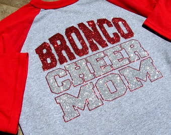 "Cheer Mom Shirt - 3/4 Sleeve Raglan Jersey Style - Your Team & ""CHEER MOM"" your Choice of Red or Blue Sparkling Glitter Three Quarter Sleeve"