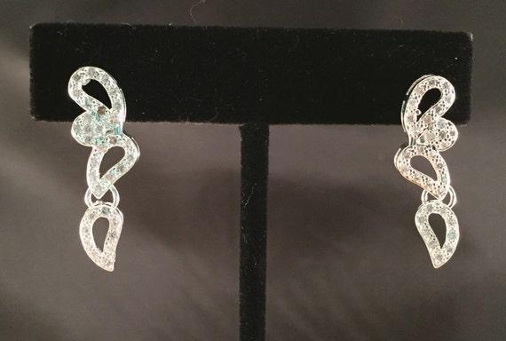 Fancy crystal silver tear drop post earrings