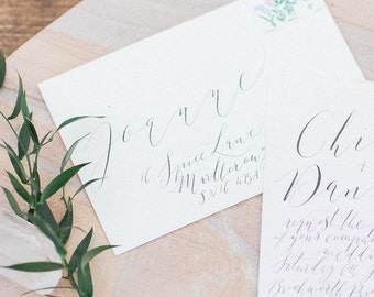 Whimsical calligraphy envelope addressing