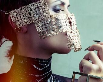 Gold large square ornate face mask armor unique cyber futuristic sci fi