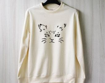 Cat Sweatshirt Meow Kitten Cat Sweater Women Jumper Pullover Shirt – Size XS S M L XL