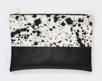 Speckled Pattern Pouch - Black Vegan Leather