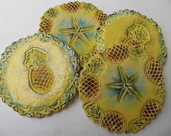 Starfish & Pineapple Yellow Blue Ceramic Coffee/Drink Coasters Beach Coastal Decor (Set of 4)