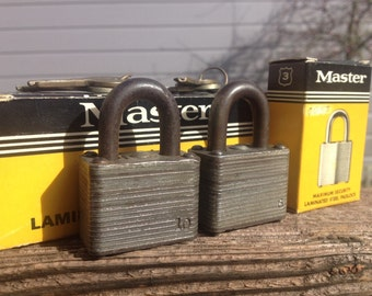 Vintage Master Padlock No. 3 with Keys, Secret Service Padlock,Upcycle, Valuables Security,Steampunk, Collectable