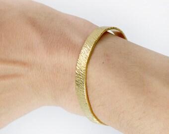 Wood Texture Arm Cuff Bracelet, Arm Band Armlet Hammered Brass Cuff