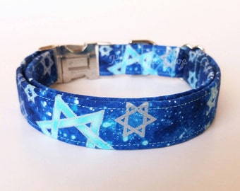 Chanukah Dog Collar, Chanukkah Dog Collar, Designer Dog Accessories, Hanukkah Pet Accessories, Adjustable Dog Collar, Passover Gift, Jewish