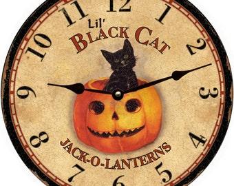 "Lil ""Little"" Black Cat Clock-Halloween Holiday Clock"