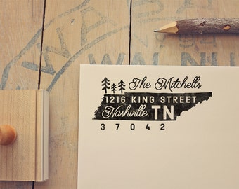 Tennessee gifts etsy tennessee return address state stamp personalized rubber stamp negle Choice Image