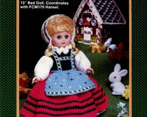 """Crochet - GRETEL Fibre Craft Pattern 171 - Outfit for 13"""" Bed Doll - Coordinates with Hansel FCM 170 - Original Hard Copy Kenyon Books"""