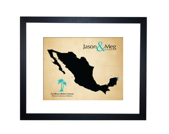 2nd Anniversary Cotton Gift for him Mexico honeymoon, destination wedding, Mexico map, second anniversary, 2 years together, anniversary map