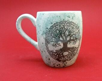tree of life handmade Tea mug coffee mug beer mug Food safe Lead free Glaze