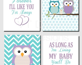 Purple Teal Wall Art, Owl Theme, Baby Girl Nursery Decor, Owl Family Wall Art, Toddler Girl, I'll Love You Forever, Printable,Set of 4