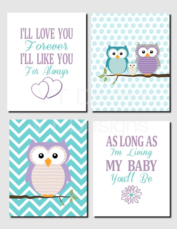 Purple Teal Wall Art Owl Theme Baby Girl Nursery Decor Owl