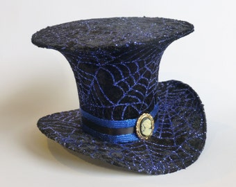 Steampunk Gothic Cosplay Costume Mini Top Hat - Black with Blue Spider Web