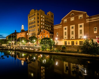 Historic buildings and the Providence River at night, in downtown Providence, Rhode Island. | Photo Print, Stretched Canvas, or Metal Print.
