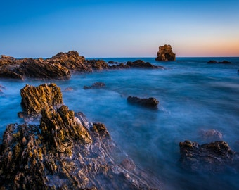 Water and rocks at twilight, Little Corona Beach, Corona del Mar, California. | Photo Print, Stretched Canvas, or Metal Print.