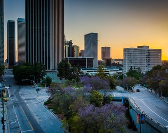 View of buildings and streets at sunset, in downtown Los Angeles, California. | Photo Print, Stretched Canvas, or Metal Print.