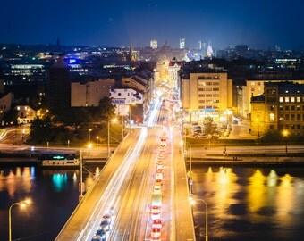 View of Štefánikův Most at night, from Letná Park, in Prague, Czech Republic. | Photo Print, Stretched Canvas, or Metal Print.