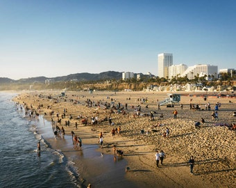 View of the beach in Santa Monica, California. | Photo Print, Stretched Canvas, or Metal Print.