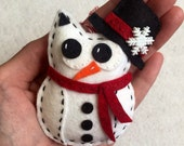 Felt Snowman Owl Ornament  with Scarf and Top Hat