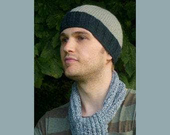 Mens Knit Hat Small Size. Wool Knit Hat. Mens Wool Hat. Ski Hat. Winter Hat. Beanie. Snowboarding Hat. 100% Wool. Fleece Lined. Pale Ocean.