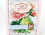 You are Special - Spring Flowers - Pastel Colors - Ivory Embellishment - Striped Ribbon - Blank Card - Shabby Chic - Vintage Style