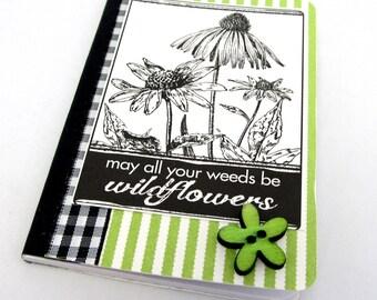 Mini Journal - Gardening Journal - Mini Gardening Notebook - Black and Ivory Journal - Wildflowers Journal - Green and Ivory Journal
