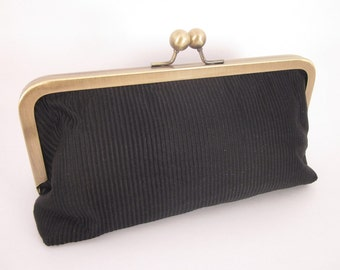 Black Silk Clutch Purse with Kiss-Lock Frame, 8-inch