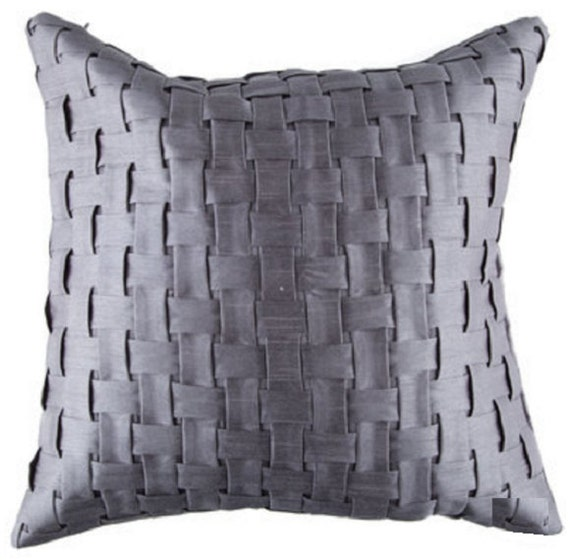 How To Make A Basket Weave Pillow : Gray basket weave pillow by homebymichelle on etsy