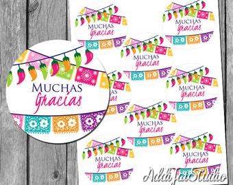 INSTANT DOWNLOAD Muchas Gracias Fiesta 3 inch favor tags