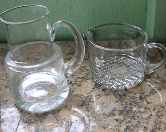 Two Vintage Martini Pitchers, Clear Glass, One Handmade Romania, 1 qt