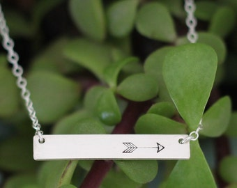 Arrow Sterling Silver Bar Necklace, Trendy Arrow Necklace, Arrow Hand Stamped Necklace, Arrow Jewelry, Silver Bar Jewelry