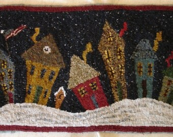 Crookedville at Night Rug Hooking Pattern