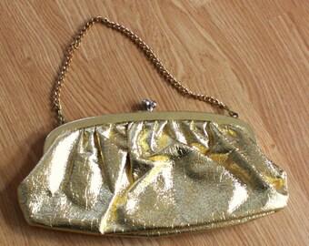 Vintage Gold Metallic Evening Handbag Purse Clutch with Brass Chain and Kisslock Closure