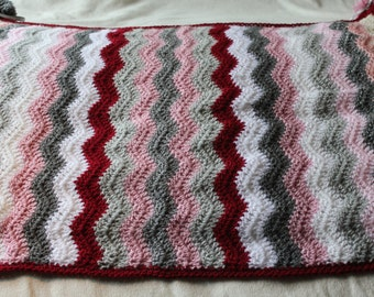 Crochet baby Blanket pastel pink and grey colours baby blanket handmade crib blanket