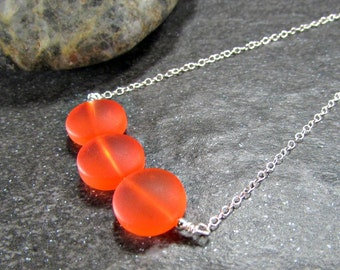 Orange Sea Glass Necklace in Sterling Silver, 14K Yellow Gold Filled or Rose Gold Filled- Beach Glass Jewelry- Ocean Gift- Coastal Jewelry