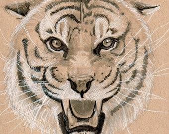 "The Life of Pi ""Richard Parker The Tiger"" Original Art Hand Drawn Toned Paper Portrait"