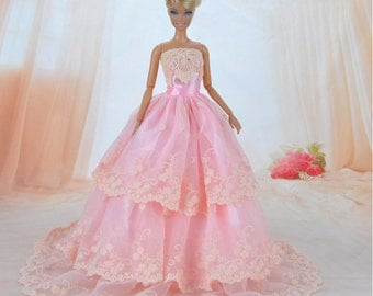 Handmade Dolls Clothes Wedding Dress Pink Lace Party Gown For Barbie Dolls