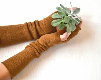 Arm warmers, luxury 100% merino, fingerless long gloves, deerbrown, soft, skin friendly, with thumb hole