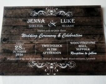 "Rustic wedding invitation ""Jenna"" wood effect"