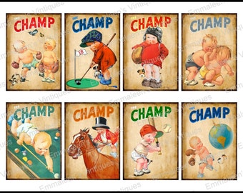 8 Vintage Grunge Children Boys Sports Champs Collage Sheet ATC ACEO / Retro Children Digital Collage Sheet Tags Images—Printable Ephemera