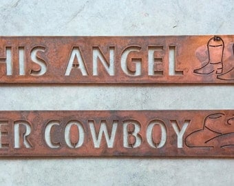 2 metal Cowboy Bride and Groom signs in rustic copper finish