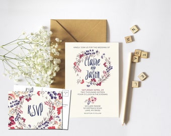 Foral Berry Rustic Wedding Suite - PRINTABLE Invitation // RSVP // Information Card // Full suite or separate purchase