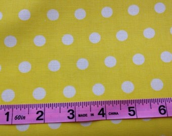 Yellow fabric by the yard - yellow polka dot fabric - yellow and white fabric by the yard - yellow dot fabric -#15338