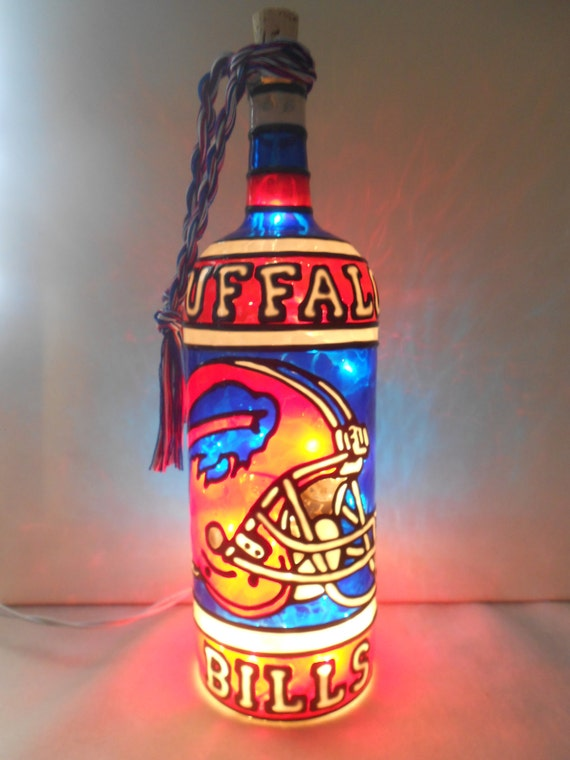 buffalo bottle craft buffalo bills inspired bottle lamp handpainted stained glass 1176