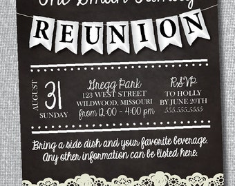 Family Reunion Chalkboard Invitation with Lace-Digital File-Custom Colors