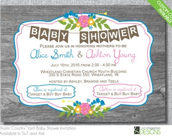 Country Rustic Double Baby Shower Invitation - Custom Colors - Digital File Only